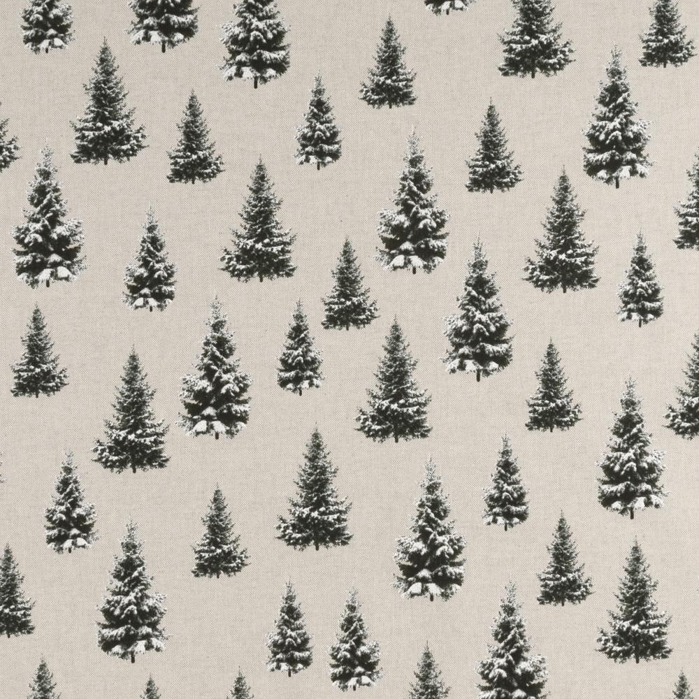 Stoffdetail-Tannenbäume-im-Winter-schwarz-weiß-beigearz-beige-weiß