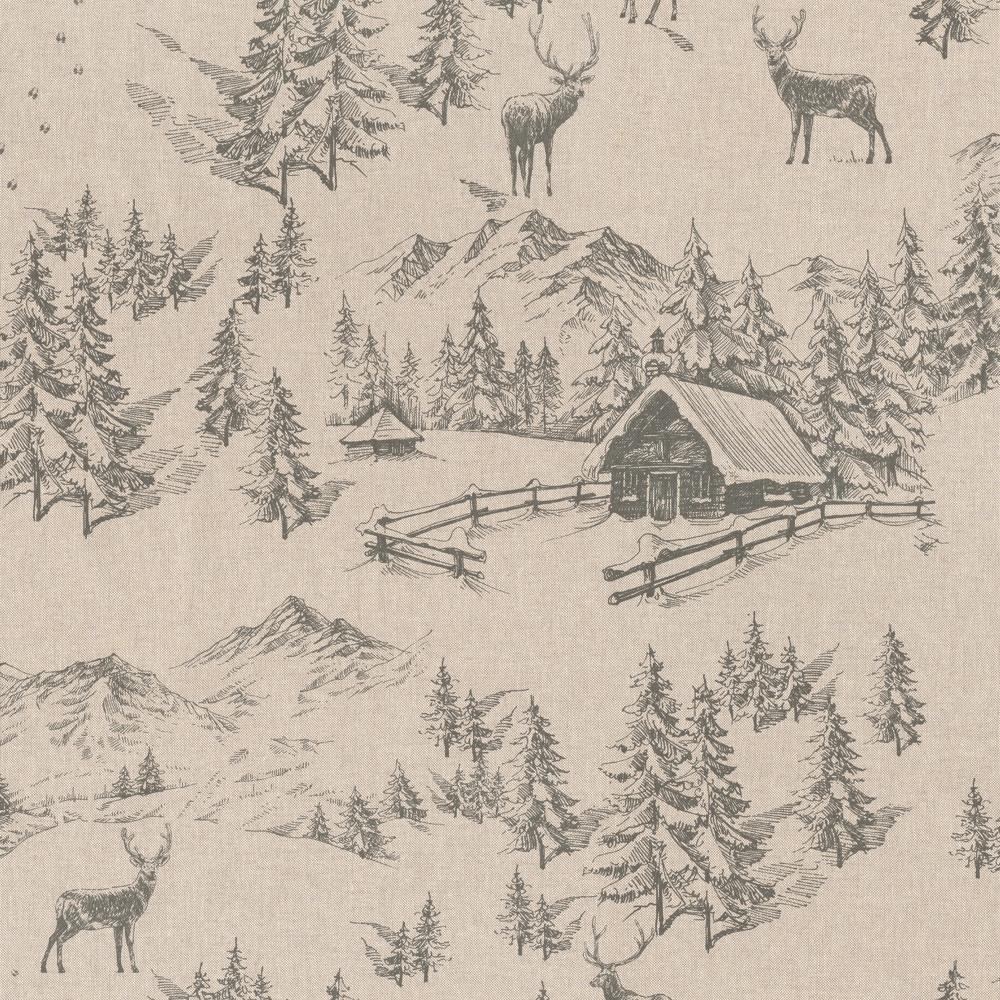 Stoffdetail-Berghütte-im-Winterwald-beige-grau