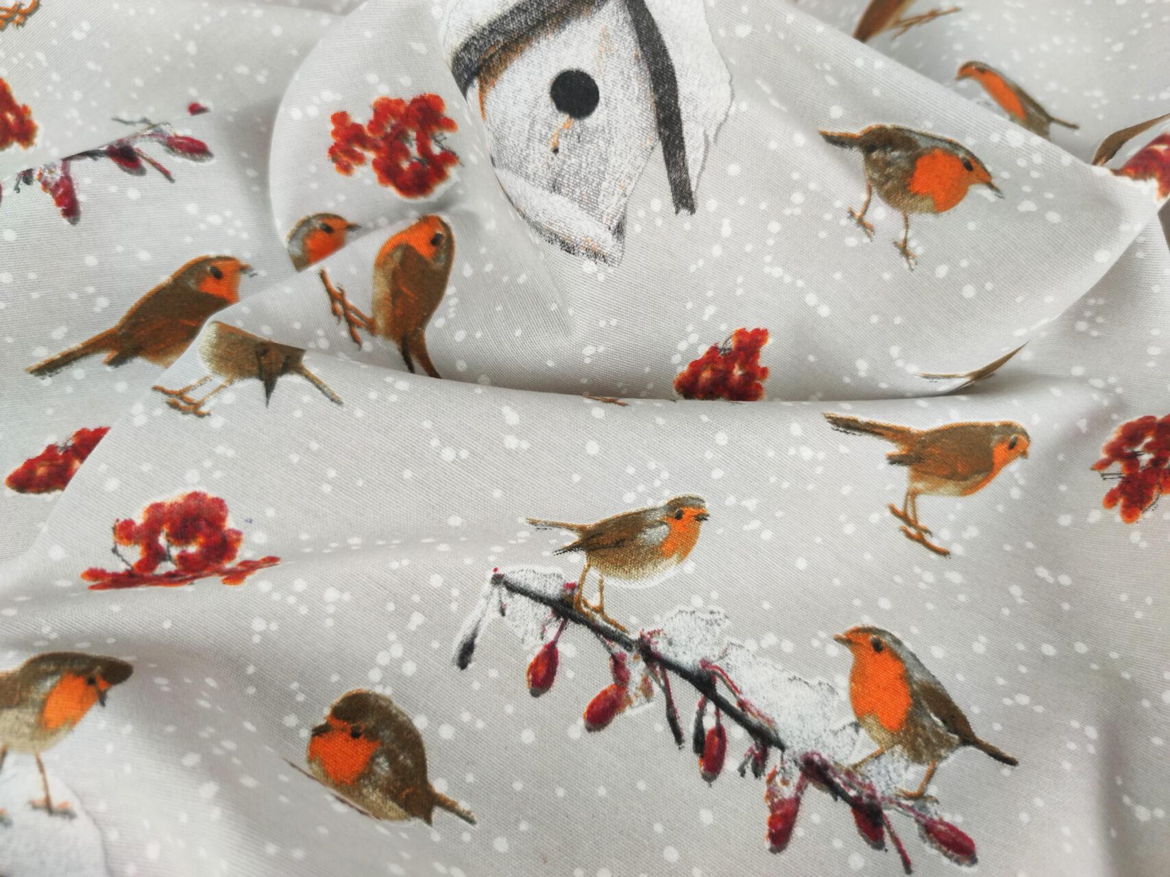 Stoffdetail-Winter-Rotkehlchen-Wintervogel-grau-orange